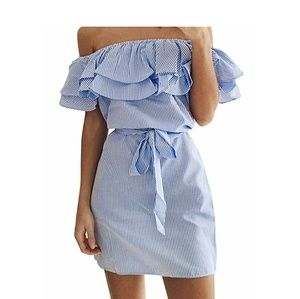 LITZY Off Shoulder Ruffle Top Chambray Dress